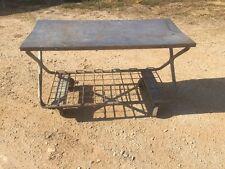 Vtg Industrial Rolling Metal Cart Workbench Table Mid Century Modern Steampunk