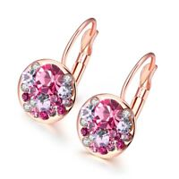 2 ct Created Ruby Hoop Earrings with Crystals in Platinum-Plated Brass