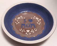 """Blue & Gray Round Pottery 10.25"""" Pie Pan with I Love Mom Design"""