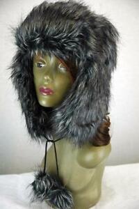 Mens Ladies Charcoal Fur Faux Trapper Hat