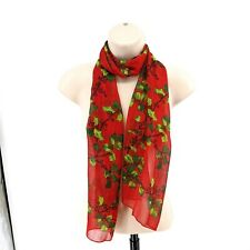 Echo Christmas Red Mistletoe Scarf Gold Trimmings