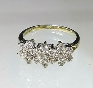 9ct Gold Statement Triple Daisy Cluster Ring Diamond Simulants Real Gold Size K
