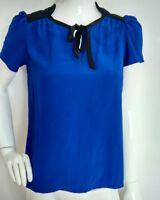 Designer MAJE Seymour silk blouse size M --VGC-- 100% silk blue short sleeve