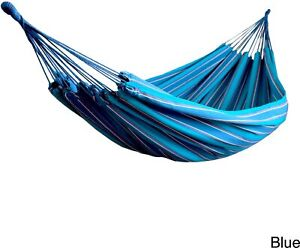 Blue Striped Hammock 2 Person Brazilian Style 330 Lb Capacity Polyester Portable