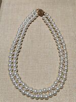 Vintage Estate Gold Tone Double Strand Pearl Necklace