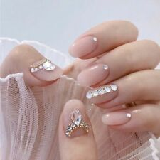 24Pcs NEW Full Cover Short Square Press On Nails Pink Dripping Shape Heart Bride