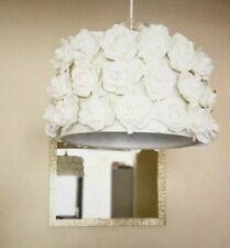 Large Floral Ceiling Lampshade, Pendent Shade, Rose Heads, Cream White