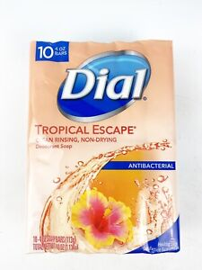 Dial Tropical Escape Soap Bars 4 oz each 10 Pack Deodorant Soap Discontinued