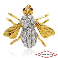 Estate Diamond Ruby 18K Yellow Gold Bee Wasp Brooch Pin 5.0 Grams NR