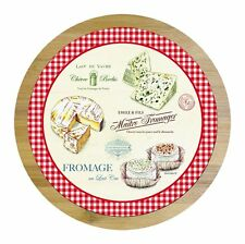 EasyLife Bamboo Wood & Glass Lazy Susan Turntable With Cheese Cutter -
