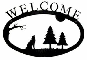 Wrought Iron Welcome Sign Timber Wolf Silhouette Large Outdoor Plaque Home Decor
