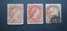1870-1897 Small Queen Victoria Sc# 37-41 USED 3¢ - 3 shades of color