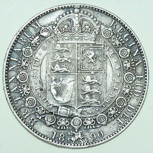 1890 VICTORIA JUBILEE HEAD HALFCROWN, BRITISH SILVER COIN GVF