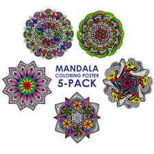 Mandala Coloring Poster 5-Pack - 22x22 Inch Wall Posters