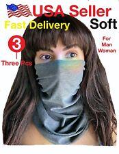 3 pack Grey Multi-use Tube Scarf Bandana Head Face Mask Neck Gaiter Head Wear su
