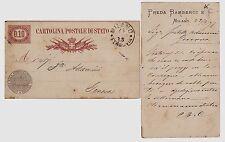 """# MILANO 1878 CART. POSTALE DI STATO, SOVRASTAMPA """"PREDA BAMBERGI & C"""