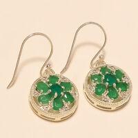 Natural Zambian Green Emerald Earrings 925 Sterling Silver Handmade Fine Jewelry