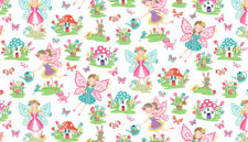 Makower Daydream - Fairies White 100 Cotton Fabric Craft/quilting per 1/4 Metre