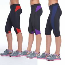 LADIES 3/4 FITNESS LEGGINGS RUNNING GYM EXERCISE YOGA CAPRI WOMENS ACTIVE SPORTS