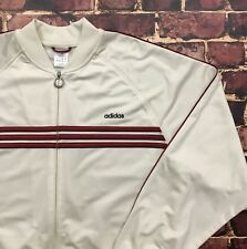 Vintage 90s Adidas Tracksuit Full Zip Jacket Mens Large Off White Red Striped
