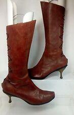 CYDWOQ Apollo Brown Leather Kitten Heel Button Mid Calf Boot EU 39.5 US 9.5