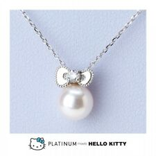 Platinum meets Hello Kitty meets PT850/900 Diamond Pearl chain Necklace Sanrio