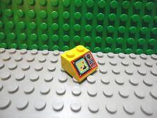 Lego 1 Yellow 2x2 printed sloped brick block with submarine sonar screen
