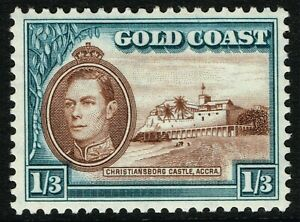 SG 129 GOLD COAST 1941 - 1/3d BROWN & TURQUOISE-BLUE - UNMOUNTED MINT