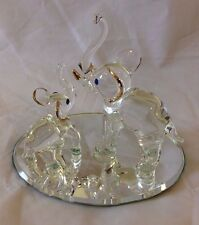 "Quality Glass Elephant Mother & Baby -Trunk to Tail, 4"" Mirrored w/ Gold Accents"