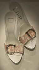 Christian Dior CD Monogram Pink White Canvas Mules Heels Excellent Condition!!