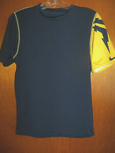 Nike Michigan Wolverines Colors Training Compression Gym Workout Shirt For Jock