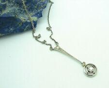 Antikes Art Deco Collier aus 585 Weißgold und Kette 925 Silber mit Diamanten