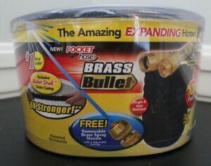 BRASS BULLET Pocket Hose - 100ft, Expandable Garden Hose with NOZZLE,