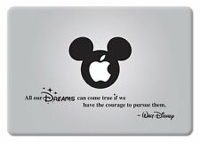 Walt Disney Quote All our Dreams Apple Macbook Laptop Vinyl Decal Sticke