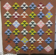 """Primitive 1907 PA Birds in The Air Antique Quilt Brown Blue NOTE 83""""x 82"""""""
