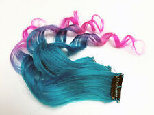 Clip in Human Hair Extensions Teal Turquoise Blue Purple Pink Ombre Hairstyle