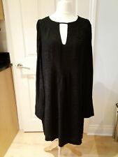 Vintage Ossie Clark Ladies Size 16 Black Long Sleeved Nikki Evening Dress BNWT