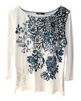 Desigual Womens Size XL White Floral Print 3/4 Sleeve Graphic Top