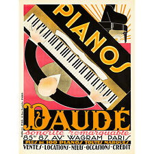 POSTER ANDRE RENAUD PIANIST PLAYING TWO PIANOS MUSIC VINTAGE REPRO FREE S//H