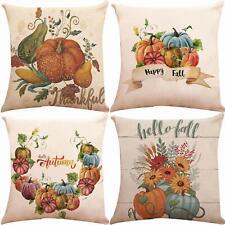"Pillow Case Covers Set of 4 18"" x 18"" Pumpkin Fall Autumn Shabby Chic Farmhouse"