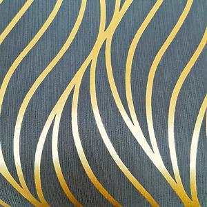 Holden Art Deco Maddox Black & Gold Wave Metallic Geometric Wallpaper 65263