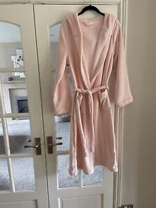Women's Ladies Soft Fleece Hooded Long Dressing Gown Plush Warm Bath Robe