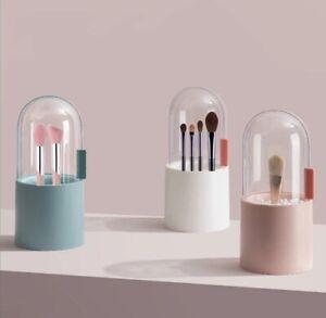 Make-up Pinselhalter Organizer Aufbewahrungsbox Etui rund semi-transparent