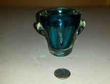 Solid glass blue votive candle stick holder