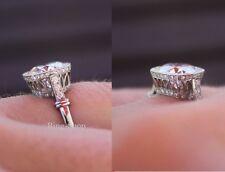 2.40Ct Brilliant Cut Moissanite Art Deco Engagement Ring Solid 14K White Gold