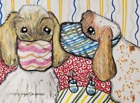 Spinone Italiano Collectible 4x6 Dog Art Print Signed by Artist KSams Quarantine