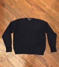 POLO RALPH LAUREN  MENS JUMPER COTTON CREW NECK SWEATER  NAVY PULLOVER L