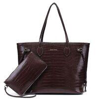 Jessyline Crocodile Womens Tote Handbag Shoulder Bag with inner pouch - P U Veg