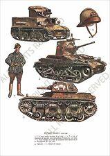 PLANCHE UNIFORMS PRINT WWII TANK CHAR Blindés Belges Belgique Belgium Armored