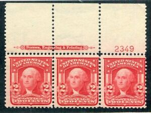 1903 U.S. Scott #319 Two Cent Washington Strip of 3 Stamps Mint Never Hinged